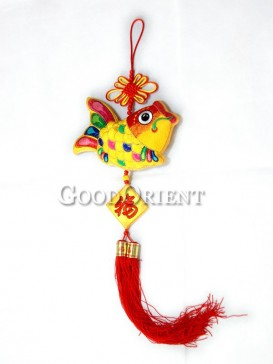 Happy New Year Fish Textile Hanging Decoration
