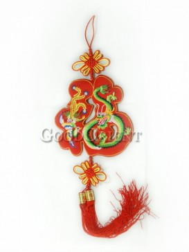 The Red Dragon Fu Textile Hanging Decoration