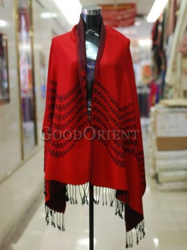 Red Peacock Pattern Scarf