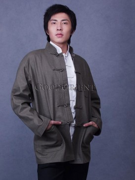 Olive Linen Chinese Coat
