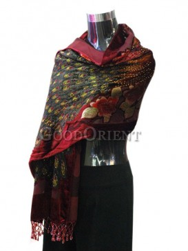 Purple Red Silk And velvet Peacock Scarf