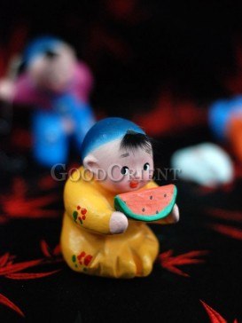 Happy Childhood Clay Figurine Series---Eating Watermelon