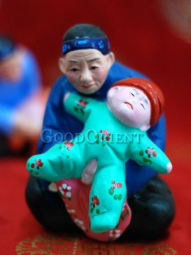 Happy Childhood Clay Figurine Series---Grandma, I Want To Play