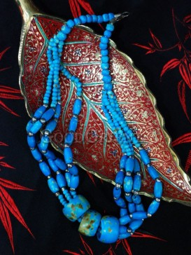 Blue Beef Bone Necklace