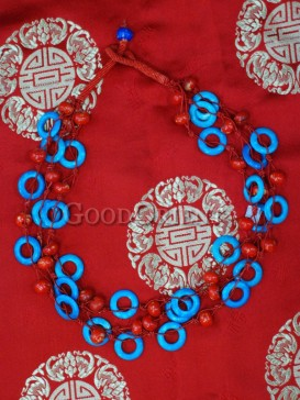 Blue And Red Turquoise Tibetan Necklace