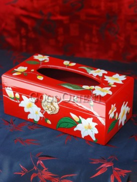 Pear Flower Lacquer Tissue Box