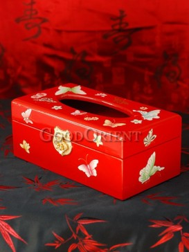 Butterfly Lacquer Tissue Box