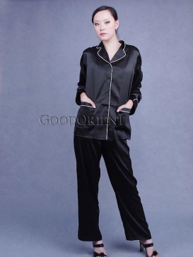 Black Silk Pajama Matching Set