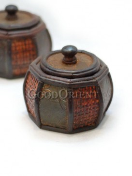 Round Knitting Wooden Cosmetic Cases