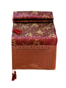 Purple Red Chinese Calligraphy Table Cloth