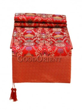 Red China Blessing Pattern Table Cloth