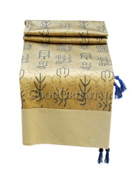 Light Yellow Chinese Calligraphy Table Cloth