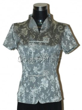 Fissidens Flowers Chinese Blouse---Grey
