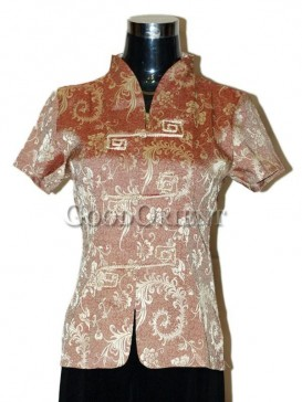 Fissidens Flowers Chinese Blouse---Brown