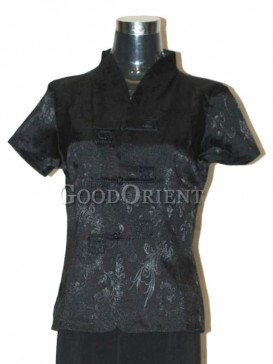 Fissidens Flowers Chinese Blouse---Black