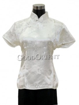 Plum Blossom Chinese Blouse---White