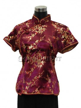 Plum Blossom Chinese Blouse---Purple Red
