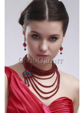 Best wedding accessories- Wine red Beads Necklace set