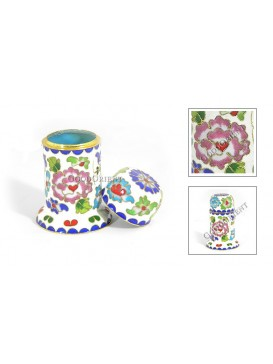 Peony Cloisonne Tooth Pick Holder---White