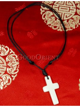 White beef bone Jesus Cross necklace