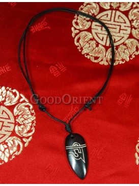 Black Tibet Ox Bone pendant necklace
