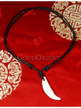 Crescent bone white necklace