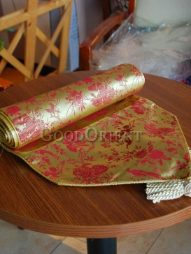 Golden Floral Bird Table Runner
