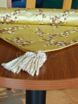 Golden Plum Blossom Silk Table Runner