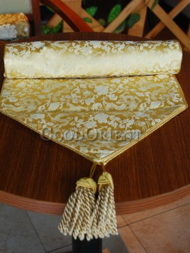 Golden Floral Dragon Table Runner
