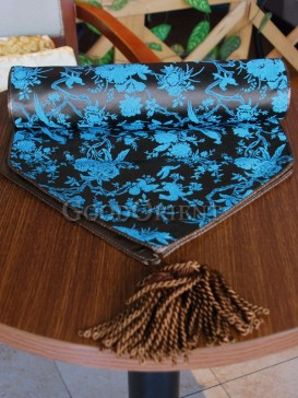 Elegant Black Chrysanthemum Table Runner