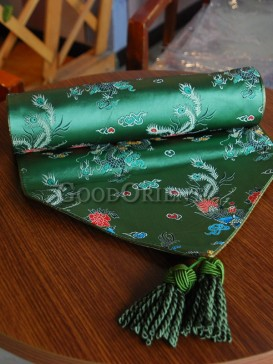 Dark Green Phoenix Brocade Table Runner