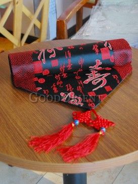 Black Chinese Fu Lu Shou Table Runner