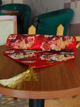 Red Noble Peony Table Runner