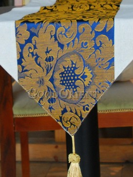 Navy Blue Noble Peony Table Runner