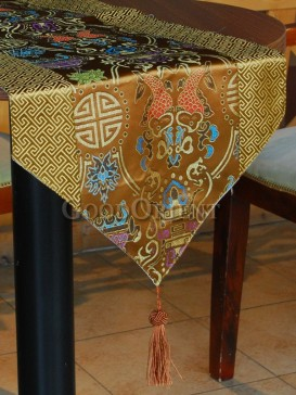 Golden Twin Fishes and Lanterns Table Runner
