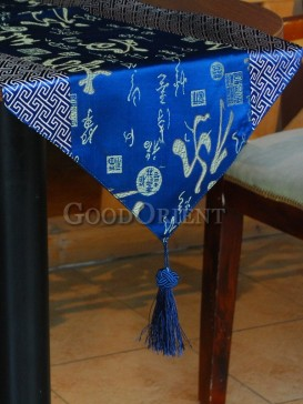 Azure color Fu Lu Shou Table Runner