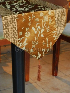 Golden Yellow Fu Lu Shou Table Runner
