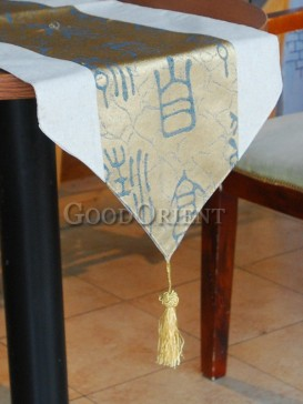 Golden Chinese Calligraphy Table Runner