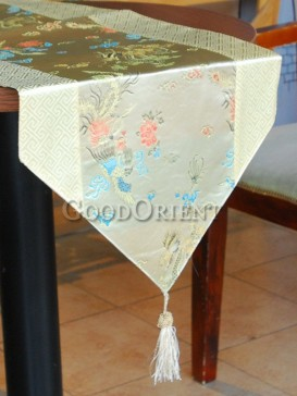 Light Golden Phoenix & Dragon Table Runner