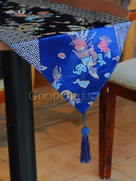 Navy Blue Phoenix & Dragon Table Runner