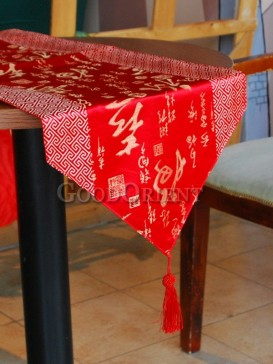 Hot Red Fu Lu Shou Table Runner