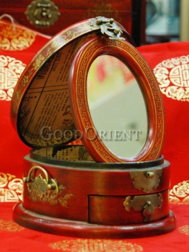 Antique Three-dimensional Wooden Cosmetic Cases---Red