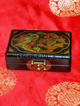 Dark Green Dragon and Phoenix Patterns Wooden Cosmetic Cases