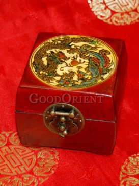 Yellow Dragon Cube Wooden Cosmetic Cases
