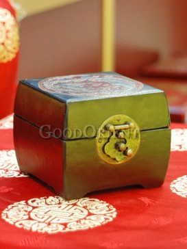 Dark Green Cube Dragon and Phoenix Wooden Cosmetic Cases