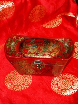 Red Ingot Shape Dragon and Phoenix Wooden Cosmetic Cases