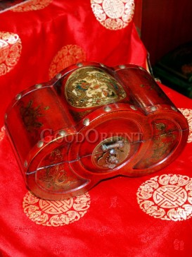 Red Unique Shape Dragon and Phoenix Wooden Cosmetic Cases