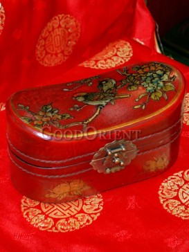 Red Sparrow and Peony Pattern Wooden Cosmetic Cases