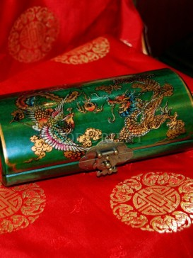 Green Oval Shape Dragon and Phoenix Wooden Cosmetic Cases