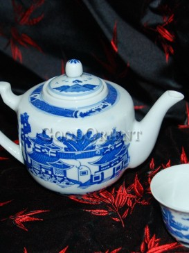 Blue and White Porcelain Teapot With Old Chinese Loft
